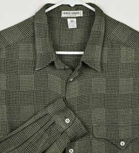Vtg-Giorgio-Armani-Collezioni-Men-039-s-XL-Rayon-Blend-Green-Geometric-Italian-Shirt