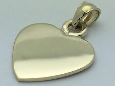 New Solid 14K Yellow Gold Plain Flat Engravable Heart Charm Pendant 2.8 grams