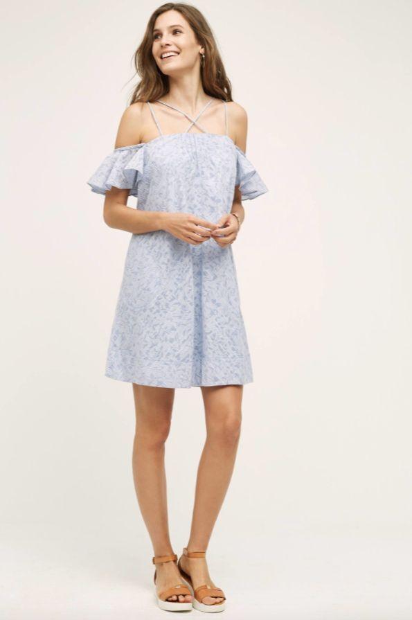 NEW Anthropologie HD in Paris Dayflower Mini Dress Off Shoulder Blau Weiß