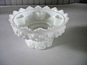 Vintage-Fenton-Hobnail-White-Milk-Glass-Centerpiece-Candle-Holder-Flower-Bowl