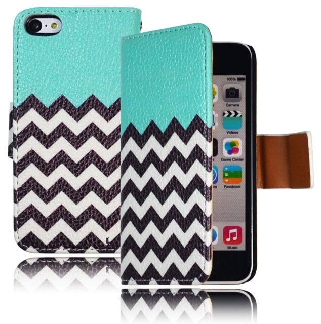 Teal Chevron Leather Wallet Flip Case Cover + Strap for iPhone 5C