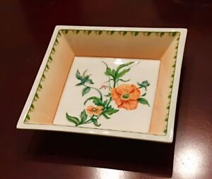 Limoges Decorative Floral Square Dish from France by Jean Louis ...