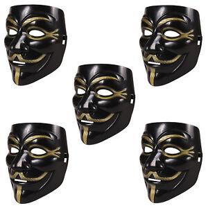 5-Stueck-V-wie-Vendetta-Maske-schwarz-Anonymous-Party-Halloween-Karneval-Maske