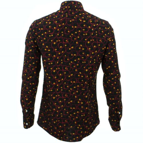 Camicia da uomo forte Originals SU MISURA Fit CELLE Nero Retro Psichedelico Costume