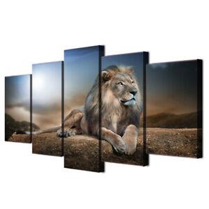 Details zu Leinwand Löwe Tier Natur Wandbilder Wohnzimmer Kunstdruck  Wandbild Dekoration