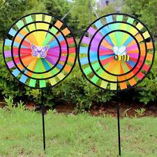 Multicolor Rainbow Triple Wheel Windmill Pinwheel Whirligig Kids Girl Fun Toy