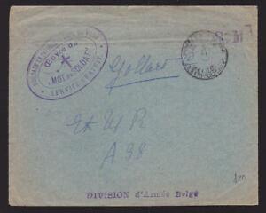 Belgium-1915-Cover-Service-Post-Mot-Soldat-Service-Gratuit-Division-Armee-Belge