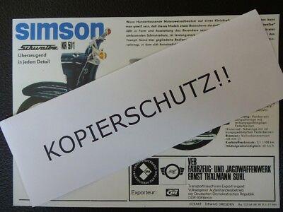 1965 DDR Reklame Prospekt SIMSON Schwalbe Roller Kleinroller 3,4 PS Modell KR 51
