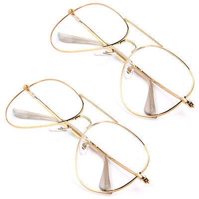 Fashion Unisex Gold Big Round Metal Frame Clear lens Vintage Retro Geek Glasses