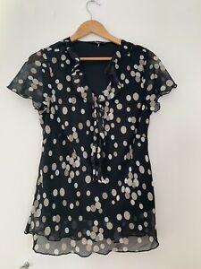 Ladies-Blouse-Bm-16-Black-Beige-Spotted-Short-Sleeve-Formal-lt-JJ12880