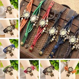 VINTAGE-Butterfly-Bracelet-Leather-Quartz-Watch-Bangle-Wristwatch-NEW-ONE-HS66