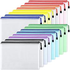 Eoout 16pcs Mesh Zipper Pouch Document Bag Waterproof Zip File Folders Letter