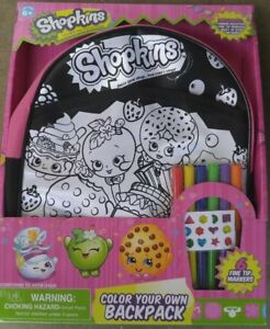 Details About Shopkins Color Your Own Backpack Markers And Sticker Gems New In Packaging