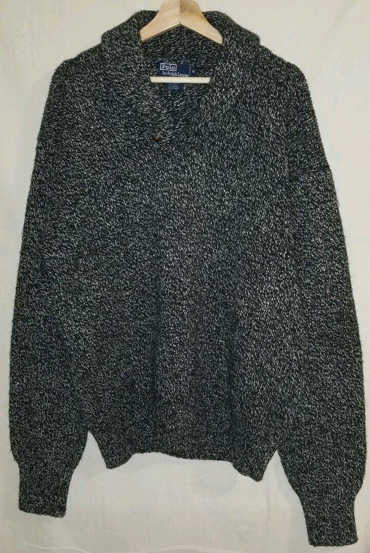 Lauren Ralph Lauren Hand Knit Wool Shawl Collar Button Sweater XL