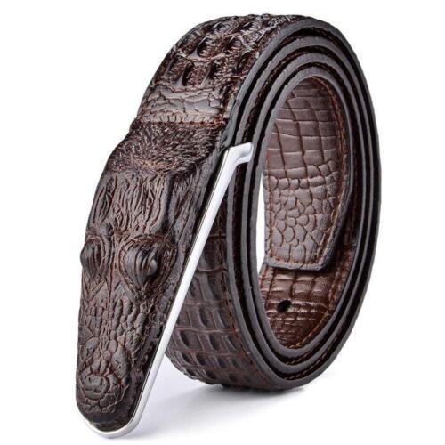 Luxury Crocodile Leather Gold Silver Bronze Metal Buckle Men Designer Belts