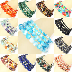 Handmade-Natural-4mm-6mm-8mm-10mm-Gemstone-Round-Beads-Stretch-Bracelet