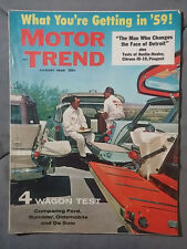 1958 AUGUST MOTOR TREND MAGAZINE RAMBLER DESOTO OLDS PLYMOUTH CHEVY FORD MOPAR