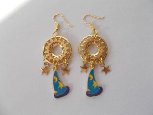 Chapado en Oro Pendientes De Halloween Brujas Sombrero Azul