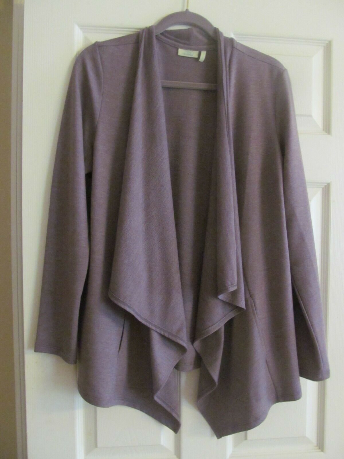 NEW LOGO Lounge by Lori goldstein Fr Terry Open Front Cardigan wild mushroom lge