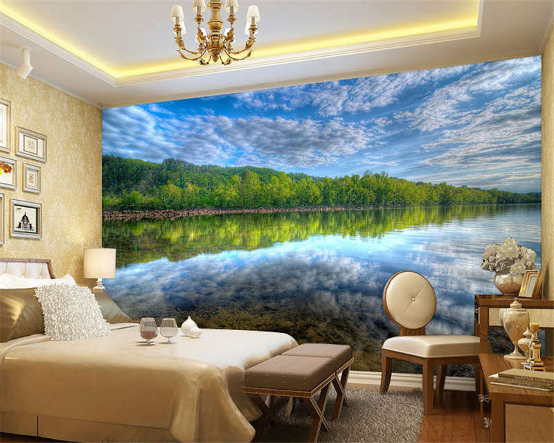 Boreal Forest Sky Reflection Full Wall Mural Photo Wallpaper Print Home 3D Decal