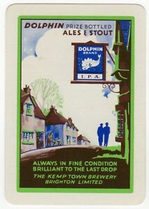 Playing-Cards-1-Single-Card-Old-KEMP-TOWN-Brewery-Advertising-DOLPHIN-ALES-Beer