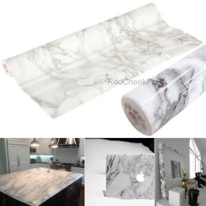 Details About Self Adhesive Vinyl Roll Film Grey Marble Contact Paper Counter Top Cabinet Wrap
