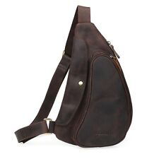 Men's Brown Real Leather Small Shoulder Sling Bag Sports Pouch Pack Cross Body