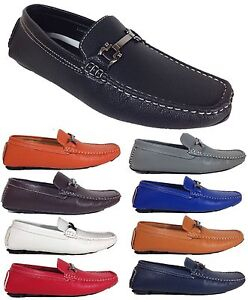 Men-Brixton-New-Leather-Driving-Casual-Shoes-Moccasins-Slip-On-Loafers-Payne