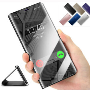 For Samsung Galaxy S9 S8 S7+360° Clear View Mirror Leather Flip Stand Case Cover