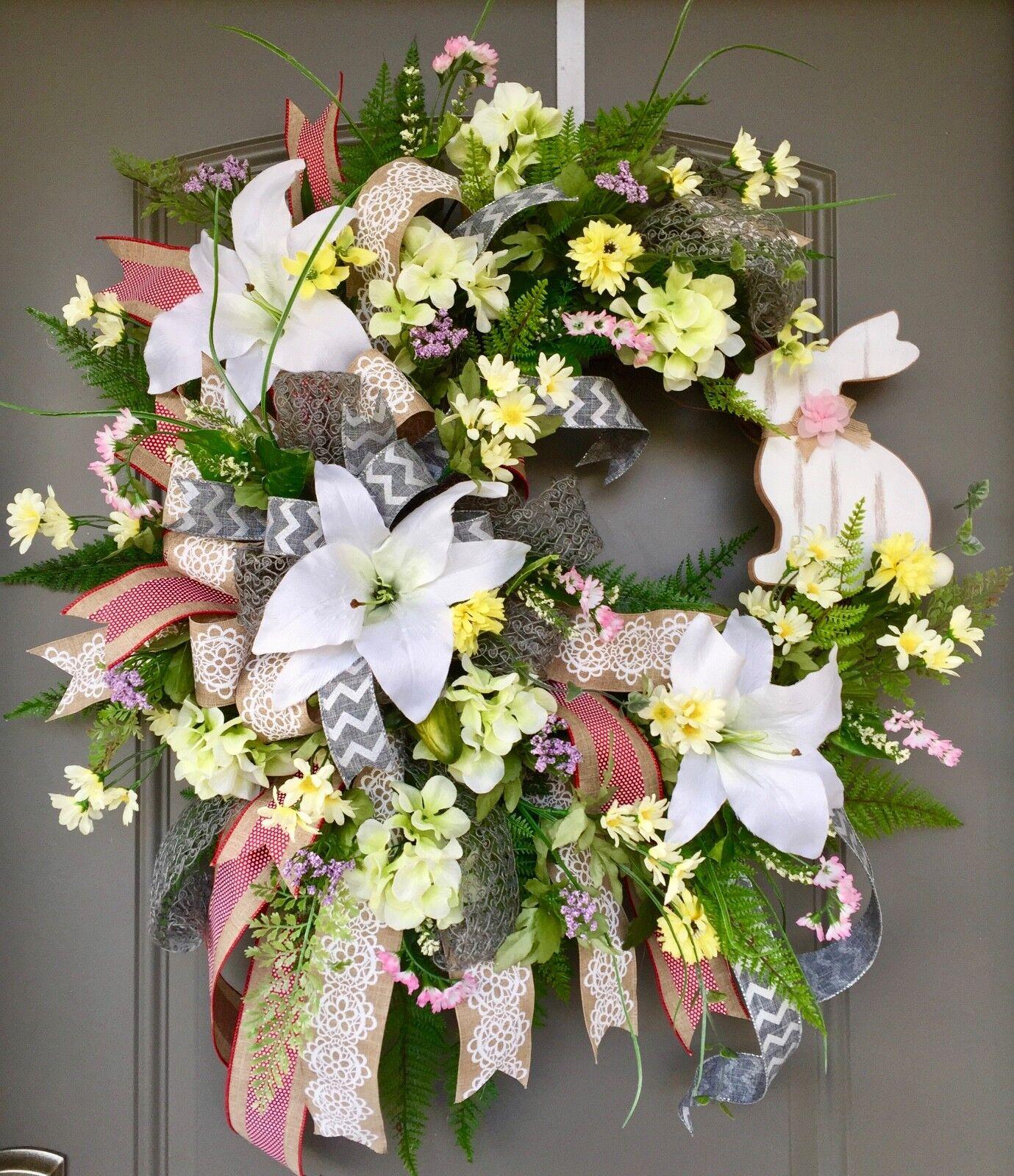 Spring Bunny Wreath, Spring Door Door Door Decor, Spring Floral Wreath, Easter Lily Wreath 756ac9