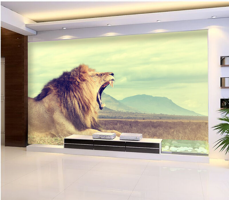 3D grassland lion animal Wall Paper Print Decal Wall Deco Indoor wall Mural