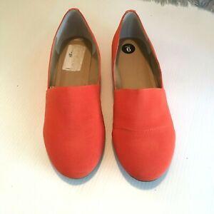 J-Litvack-St-Lucia-Flats-size-9-Elastic-w-Studded-Back-Slip-On-Orange-B-width