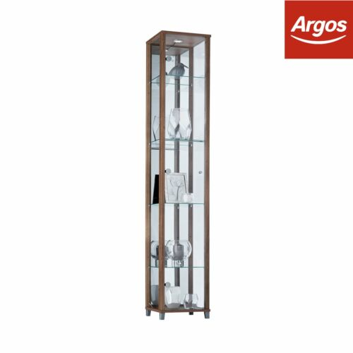 Argos Home 1 Door 4 Shelf Glass Mirrored Display Cabinet Oak.