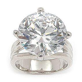 5c478b6a0fafb Grosse Bague Rhodié T58 Sertie Diamant Cz 15 mm Argent 925 Dolly ...