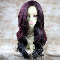 Sexy Beautiful Layered wavy Red mix Long Ladies Wigs Burgundy Skin Top WIWIGS UK
