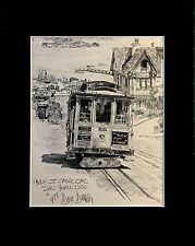 Hyde St. Cable Car San Francisco From Don Davey Lithograph Matted 1977