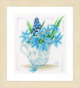 Détails sur LANARTE 0164069 Fleurs bleues Kit Broderie Point de croix  compté étamine