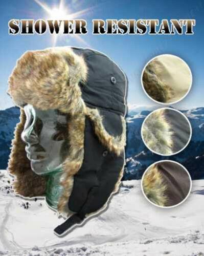 Homme Femme Imperméable Trappeur Hiver Fausse Fourrure Ski Ushanka Hat