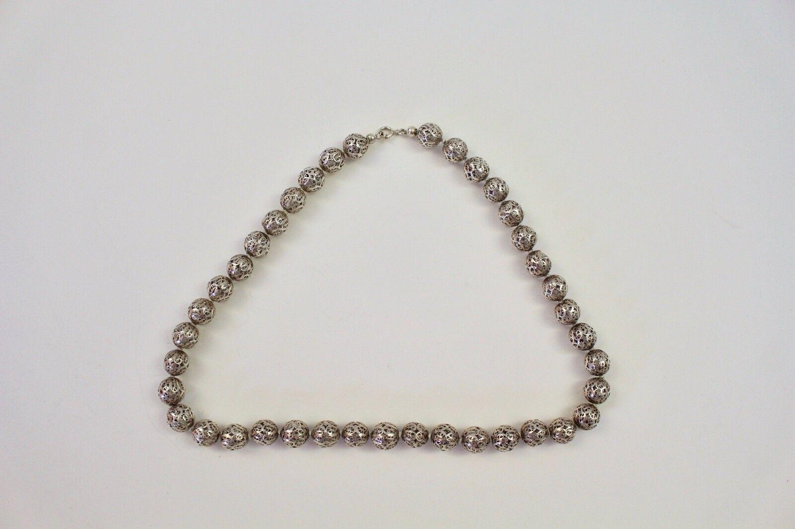 Molto di di di alta qualità collana di Sterling argentoo-Round elementi finemente lavorato 0202cf