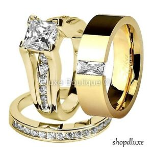 His Hers 3 Piece 14k Gold Plated Cz Wedding Engagement Ring Band