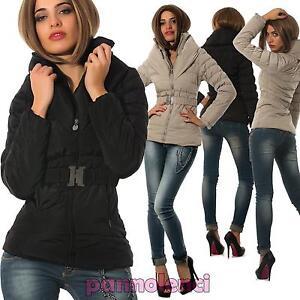 size 40 f54fd fc859 Dettagli su Giubbotto imbottito piumino donna corto zip giacca fibbia nuovo  LC1882