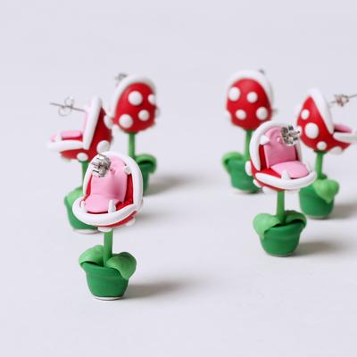 3D plant earrings MARIO stud  jewellery plant v zombies earrings 3D earrings