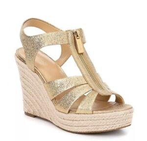 ec9cdc4e4f92c Details about Women MK Michael Kors Berkley Wedge Zip Up Sandal Sparkle  Metallic Leather gold