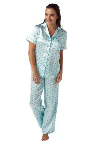 Damen Satin Samtig Pyjama-Sets PJs Pyjamas Schlafanzug Seidig Weich