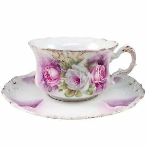 Pink & White Roses Tea Cup & Saucer Teacup Porcelain Purple Green Gold Trim Atq
