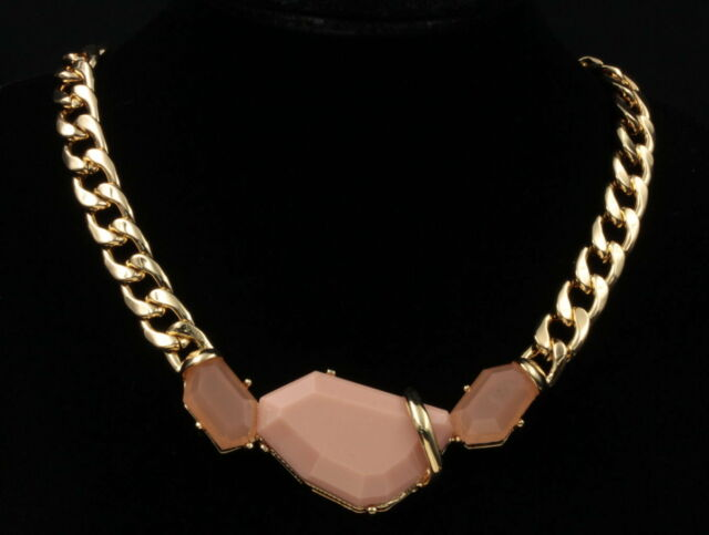 funky girl statement gold plated lucite pendant clip closure chain necklace S56