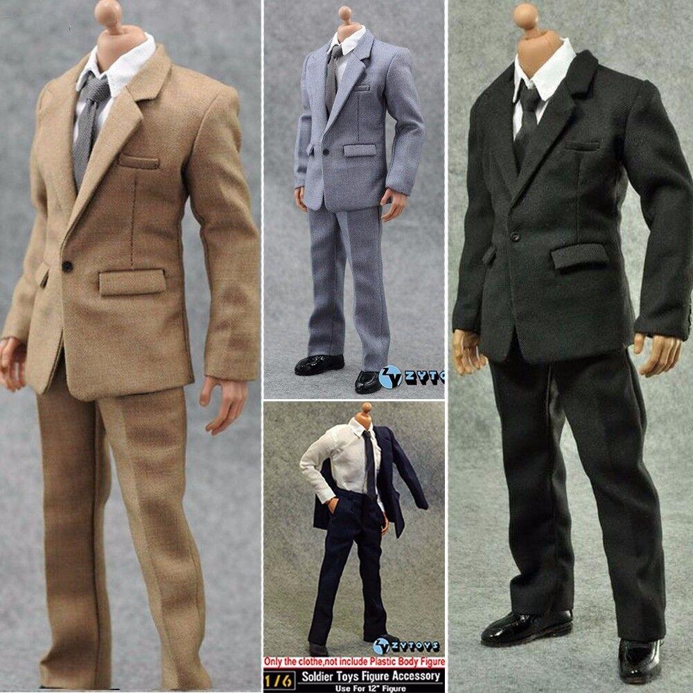 1 6 Men Suit Clothes Pants Shirt Set 4 colors For 12'' Figure Body Hot Toys