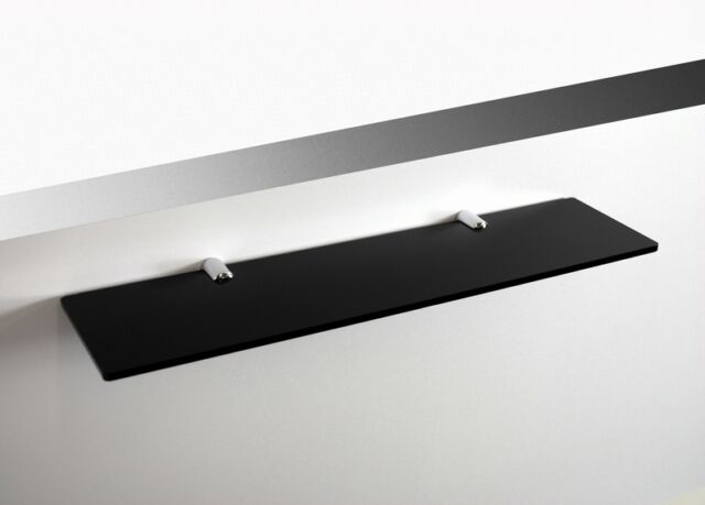 Acrylic Shelf 300x100mm Chrome Fixings Black. Bathroom, Bedroom, Storage CD