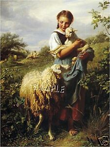 VICTORIAN-SHEPHERDESS-SHEEP-LAMB-FARM-CANVAS-ART