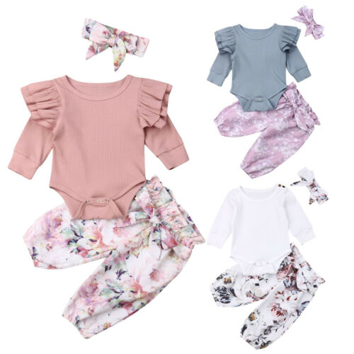 US 3PCS Newborn Baby Girl Clothes Ruffle Romper Bodysuit  Pants Leggings Outfits